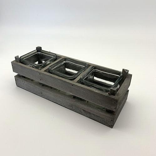 Cube Vases in Wooden Frame (YM801)