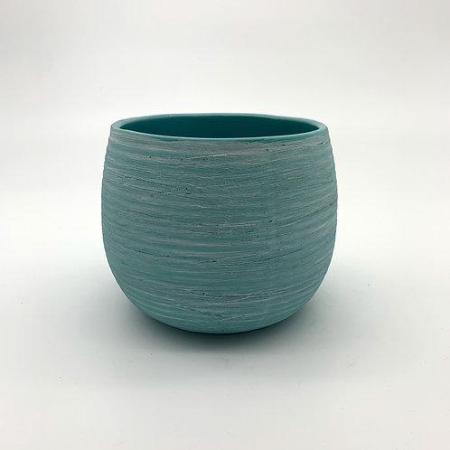 White Washed Ceramic Pot Turquoise (HX51/61)