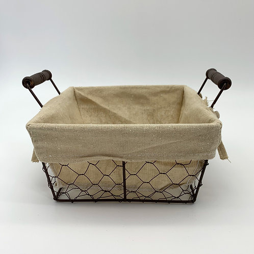 Hessian Lined Wire Square Basket (YM662)