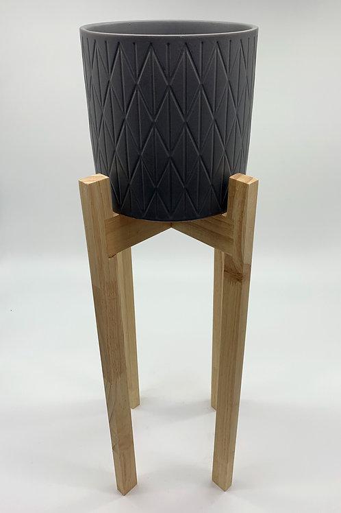 Heidi Ceramic Pot with Wooden Stands Grey (HXZ668SWS/LWS/XLWS)