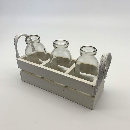 Bottles in White Wooden Crate (YM590)