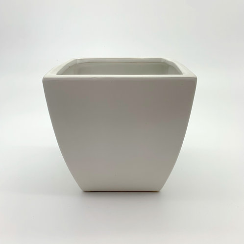 White Tapered Square Pot