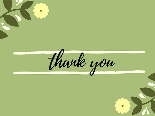 Thank You - Green Floral