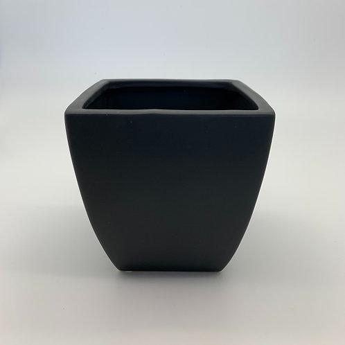 Tapered Square Black Ceramic Pot (HX11)