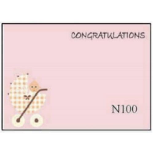 Congratulations with Pram (Girl)