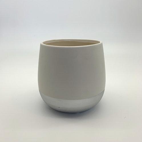 Cement White/Silver Pot (HXZ505)
