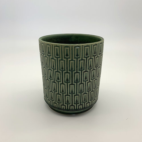 Teal Patterned Cylinder Pots