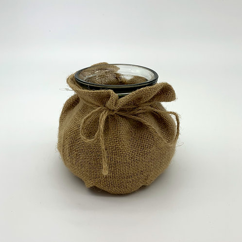 Hessian Round Glass Vase