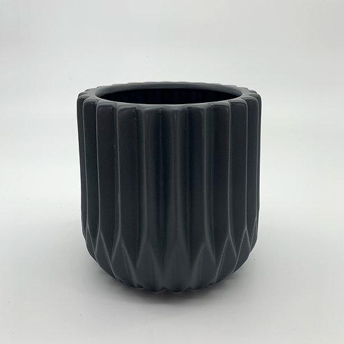 Corrugated Cylinder Grey Pot (HXZ110)