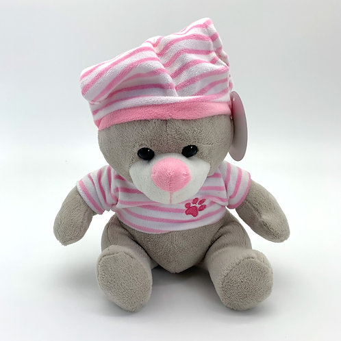 Soft Grey Bear with Pink Clothes and Hat (YC20)