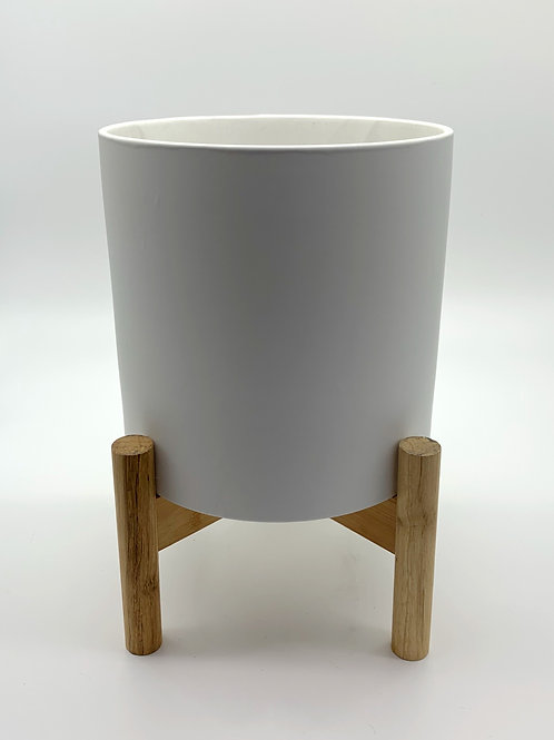White Monique Pots with Wooden Stand