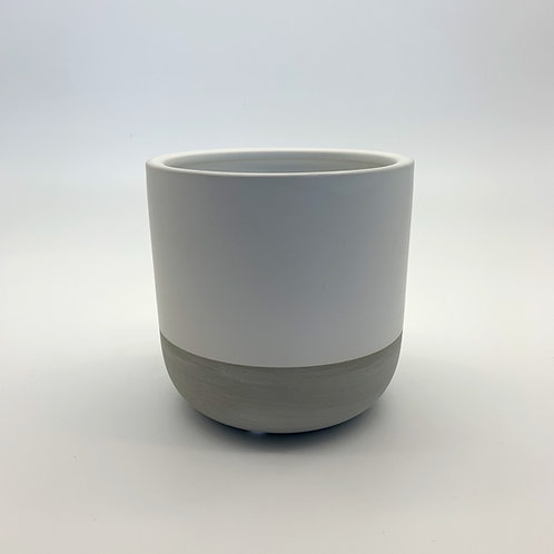 White Cement Pot - Matte
