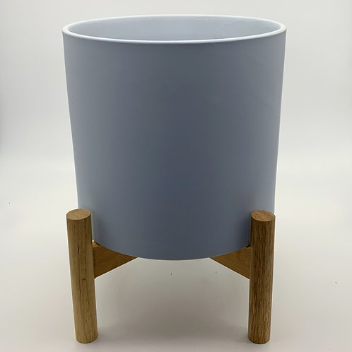 Light Grey Monique Pots with Wooden Stand