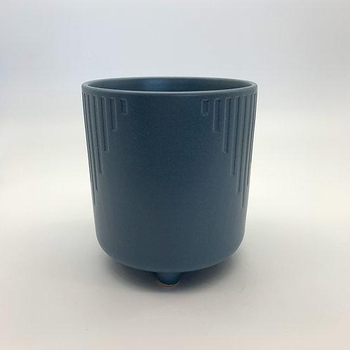 Steel Blue Cascade Pot with Legs