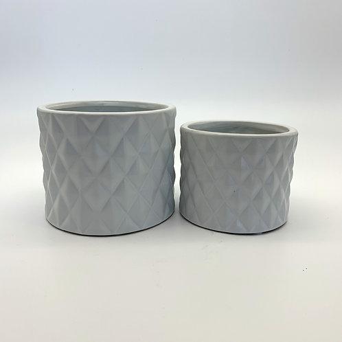 Diamond Ceramic Pot White Set of 2 (HXZ005)