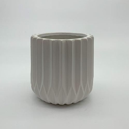 White Corrugated Cylinder Pot
