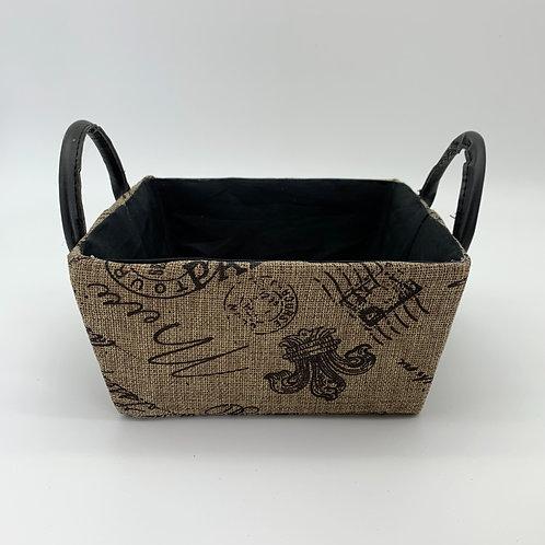 Paris Printed Hessian Basket (YM27H)