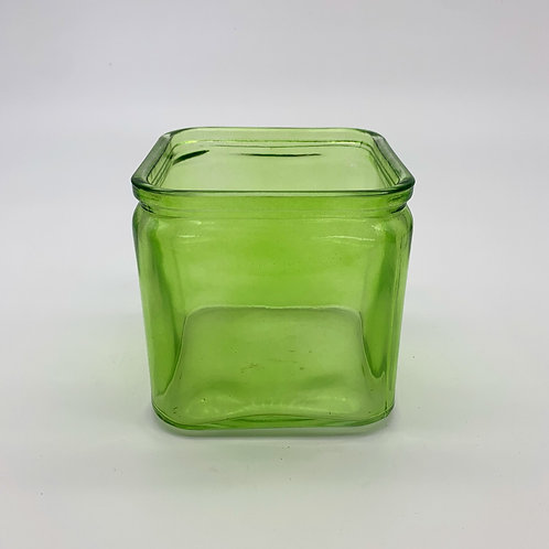 Recycled Vase: Square Green Rim Cube