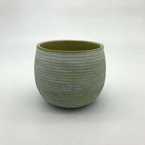 Avocado White Washed Ceramic Pot