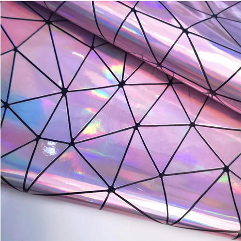 Light Purple Holographic Geometric Fabric Leather Sheets