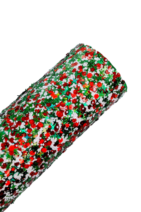 Red, White and Green Sequin Glitter Faux Leather Sheets