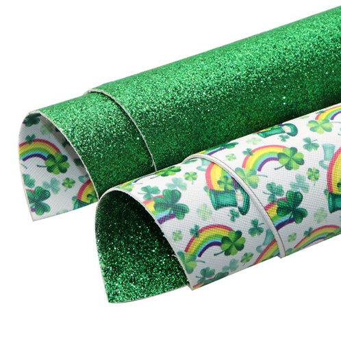 Double Sided Shamrocks and Rainbows Faux Leather Sheets