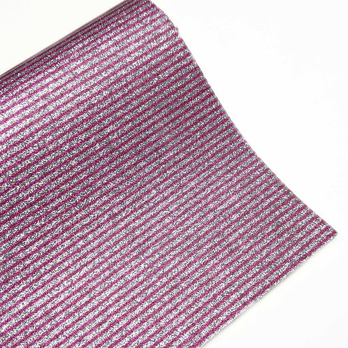 Silver and Dark Pink Stripe Fine Glitter Faux Leather Sheets