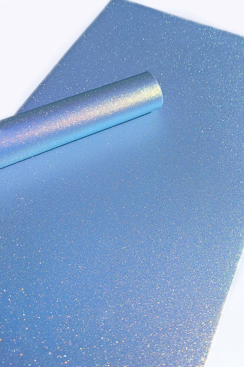 Iridescent Blue Smooth glitterFaux Leather Sheet