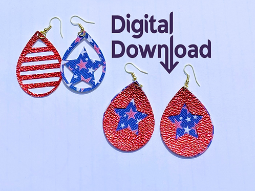 Stars and Stripes Earring Templates