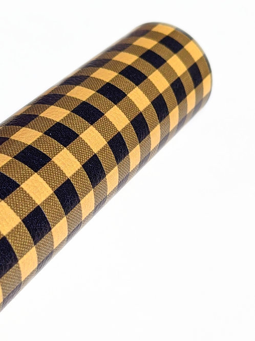 Yellow and Black Plaid Faux Leather Sheets