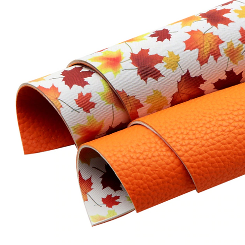 Double Sided Printed Leavesand Solid Orange Faux Leather Sheets