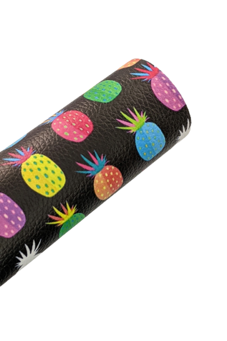 Multicolored Pineapples Faux Leather Sheets