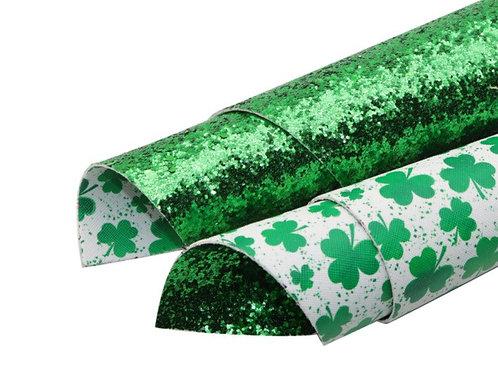 Double Sided Shamrocks Green Glitter Faux Leather Sheets