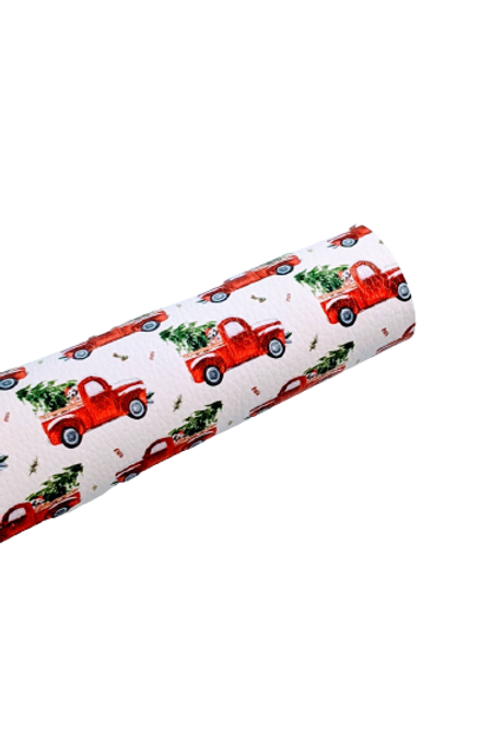 Little Red Truck with Christmas Tree Faux Leather Sheets