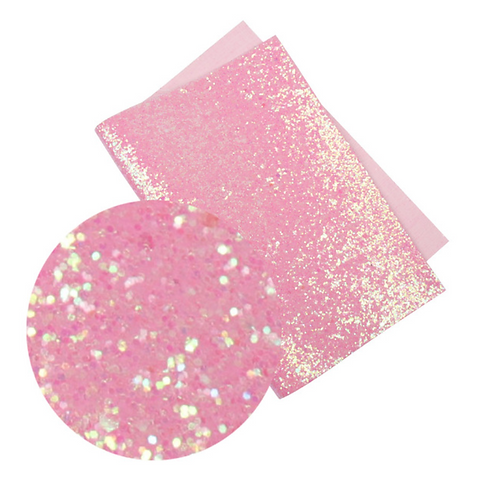 Iridescent Pink Glitter Faux Leather Sheet