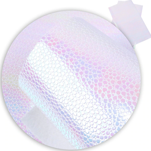 White Pebbled Mirror Iridescent  Faux Leather Sheets