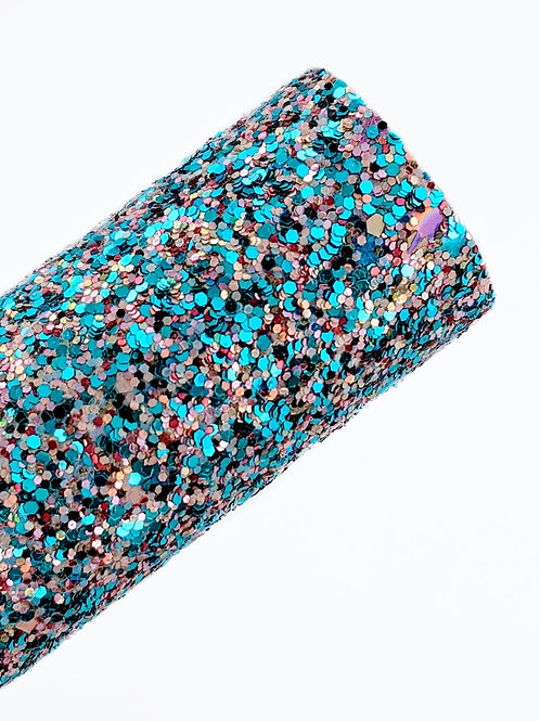 Mixed Blue Chunky Glitter Faux Leather Sheets
