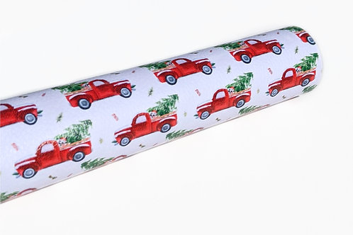 Red Truck with Puppy and Christmas Tree Faux Leather Sheets