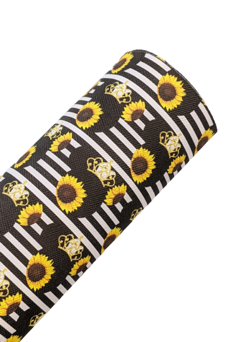 Mouse Head with Sunflowers and Crown Faux Leather Sheets