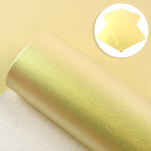 Iridescent Yellow  Smooth Glitter Faux Leather Sheets
