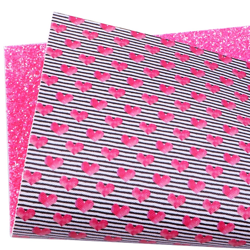 Double Sided Pink Hearts Faux Leather Sheets