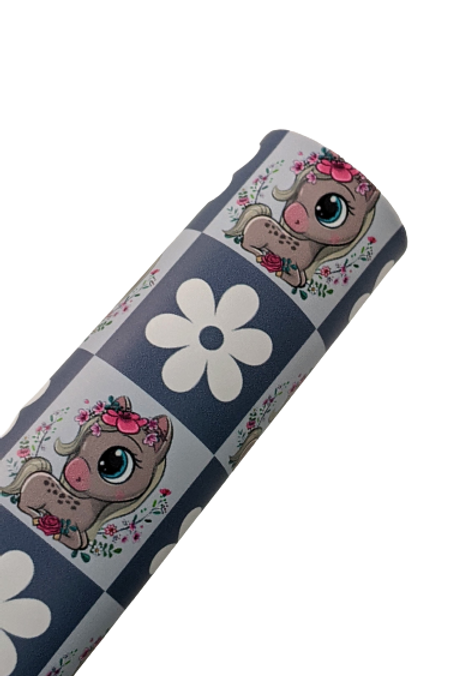 Daisies and Ponies Faux Leather Sheets