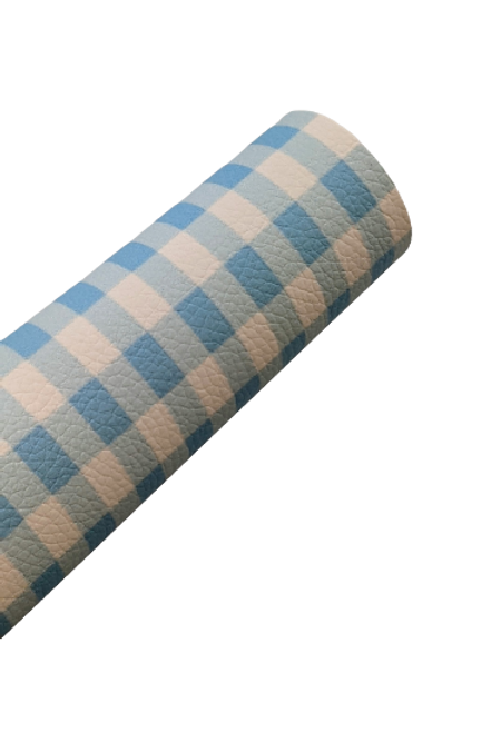 Blue and White Plaid Faux Leather Sheets