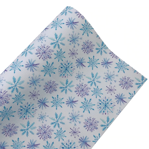 Purple and Blue Large Snowflake Faux Leather Fabric Sheets