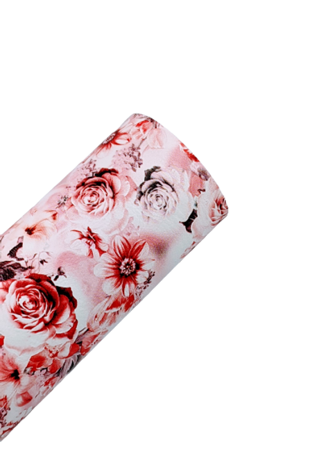 Pink and Red Roses Faux Leather Fabric Sheets