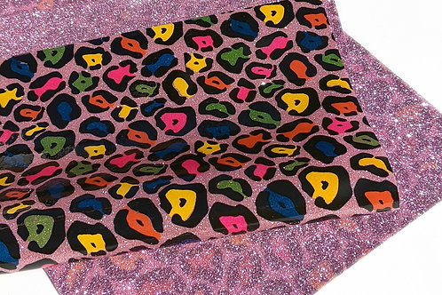 Double Sided Fine Glitter Pink Leopard Print Jelly Sheet Sheet