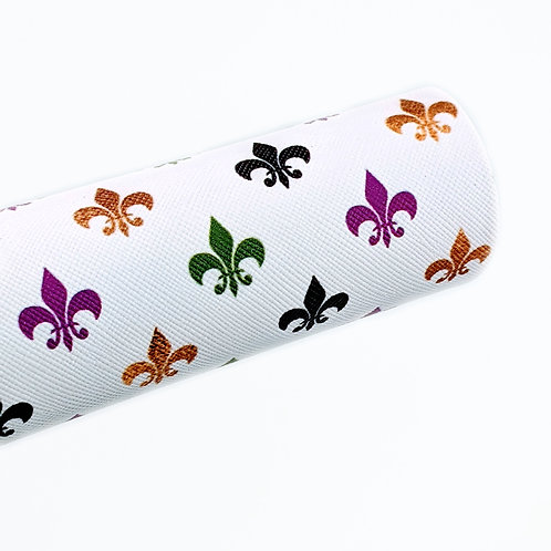 Fleur De Lis White Background Faux Leather Sheets