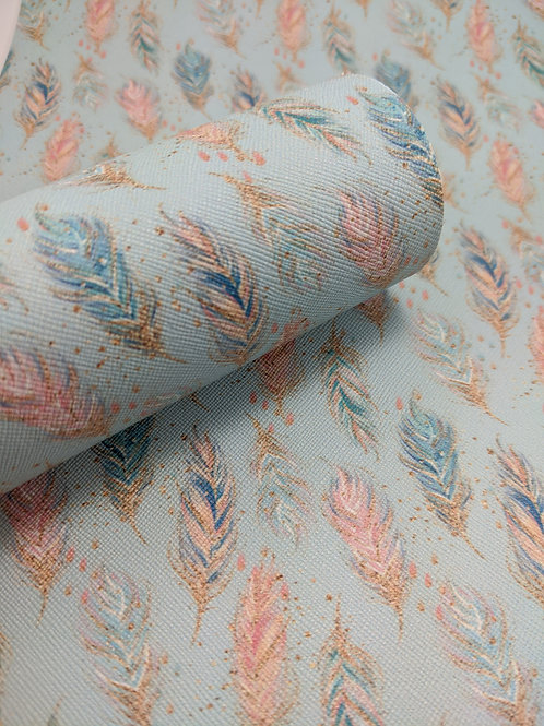 Feather Print Faux Leather Sheets