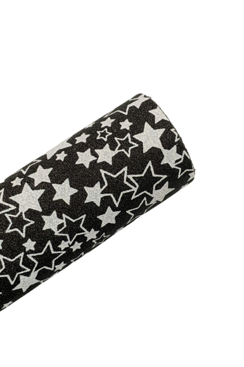 Black with White Stars Fine Glitter Faux Leather