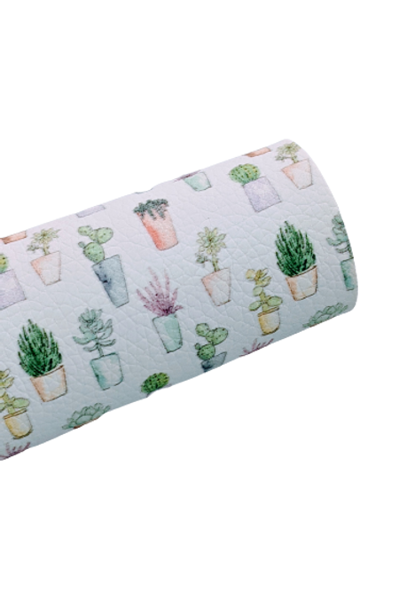 Potted Cactuses  Faux Leather Fabric Sheets